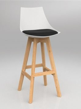 Luna White Barstool with Oak Base