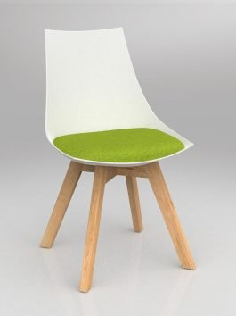 Luna White Chair with Oak Base